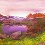 Aube en montagne / peinture en extension. Mariraff