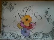 Calligraphie encre et aquarelle.