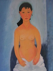 Nu debout. Elvira. (Reproduction de Modigliani) Huile.