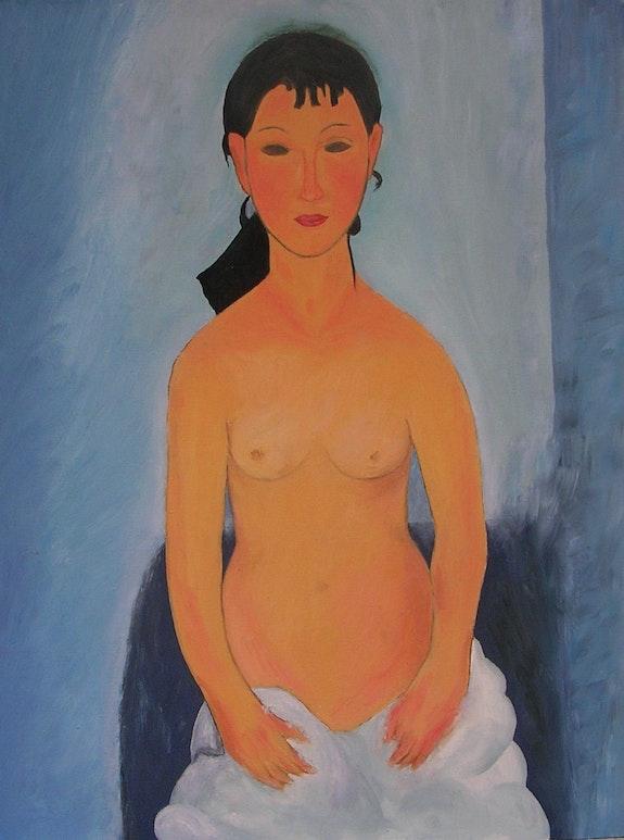 Nu debout. Elvira. (Reproduction de Modigliani) Huile.  Ghislaine Phelut