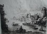 Port fortifié avec ruines, C. Gelée. Historien d'art, Archéologue; Chercheur Free-L.