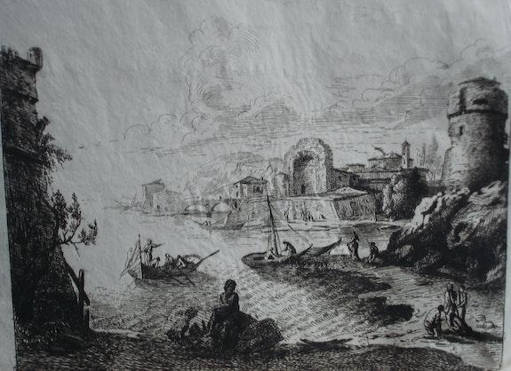 C. Gelée : Port fortifié avec ruines.. Claude Gelée, Dit Le Lorrain Historien d'art, Archéologue; Chercheur Free-L.