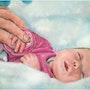 Manon nouveau né, portrait pastel bébé. Rémy Nicolas