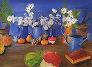 Bouquets et coloquintes / peinture en extension. Mariraff