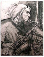 Saxophonist. Paperwork, charcoal.