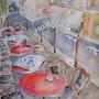 Café dans le Marais à Paris. Yedi Mackle