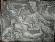 David tuant Goliath, par Mantegna. Historien d'art, Archéologue; Chercheur Free-L.