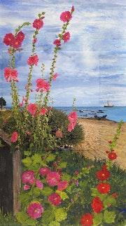 Roses trémières / Peinture en extension. Mariraff