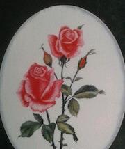 Pintura en tela, una rosa. M. Pilar