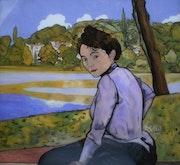 Un dimanche, au bord de l'eau - peinture sous verre. Annie Saltel