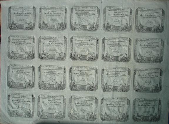 Planche d'Assignats de 50 sols. La Terreur. Les Domaines. Historien d'art, Archéologue; Chercheur Free-Lance (Er)