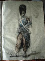 Carnet de costumes sous Napoléon I (et N. III ? ) : 18 Dessins in folio. Historien d'art, Archéologue; Chercheur Free-L.