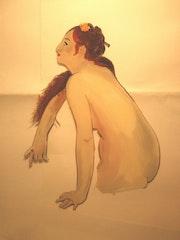 Peinture sous verre - esquisse d'une odalisque. Annie Saltel