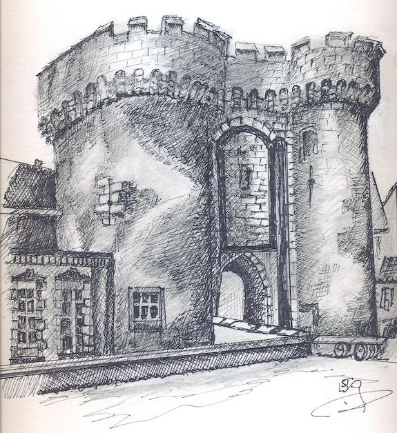 Detail de la Porte Guillaume à Chartres. Lucien Privey Lstp Lstp
