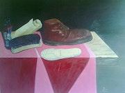 Bodegón con artículos del calzado. J. M. Fajardo Antequera