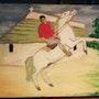 Gardian camarguais ruant avec son cheval. Scorpion66