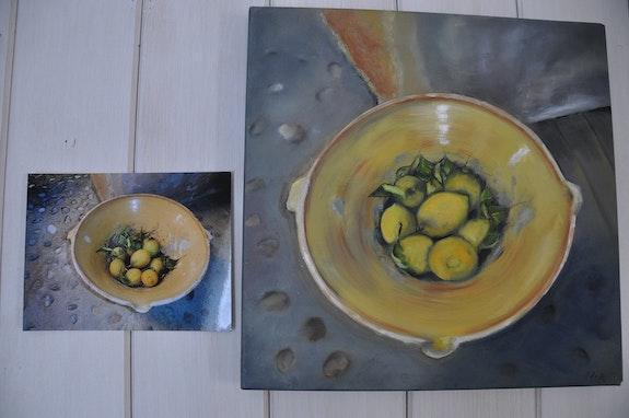 Nature morte-Les citrons de Majorque. L'artiste Nicole Armengol