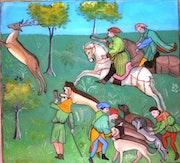 Peinture sous verre - une scène de chasse avec Gaston Phebus. Annie Saltel