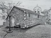 Iglesia de Pontones con la fuente en la plaza del pueblo.