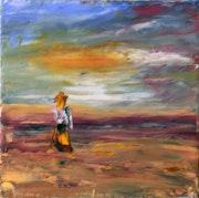 Fille sur la plage, peinture sur toile au couteau.