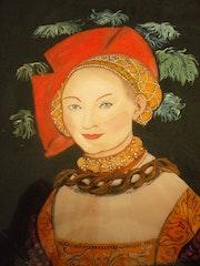 Peinture sous verre ou Reverse painting on glass - Un personnage de Cranach.