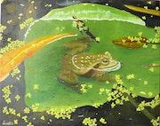 Une grenouille dans l'eau.