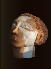 Clay sculpture, sculpture of a large head. Tando