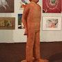 Statue Coluche. Jean Marie Delestre