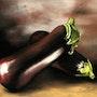 Duo d'aubergines. Jacqueline Hautbout