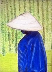 Illustration painting pastel «Bleu sous le Saule».