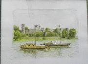 Gabares devant le château d Angers.