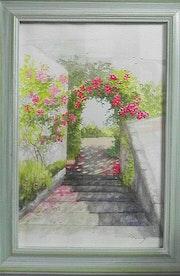 Escalier fleuri à chenehutte.