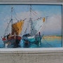 Adorable small oil painting of French fisherboats.. Bert Veenema