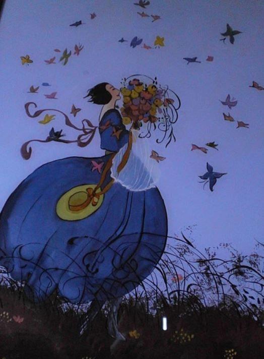 Peinture sous verre - Vent et papillons. Annie Saltel Annie Saltel