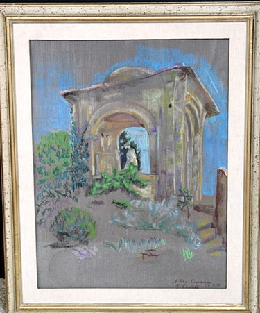 Gemälde Pastell «Villa Cimbrone Tempietto», Gräfin Elisabeth zu Castell, 1988. Thomas Kern