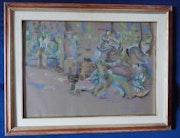 Gemälde Pastell «Park von Bomarzo» Fabelwesen, Gräfin Elisabeth zu Castell, 1989. Thomas Kern