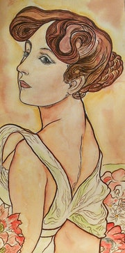 «Summer» de Mucha. A l'aquarelle.