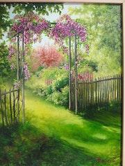La pergola au fond du jardin.