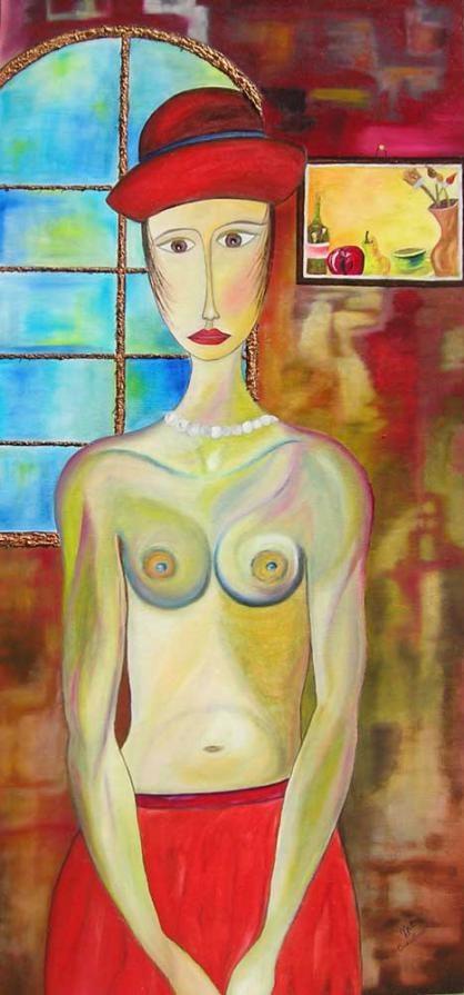 Donna con quadro - woman with pictures. Cinzia Corvo (Nic) Cinzia Corvo