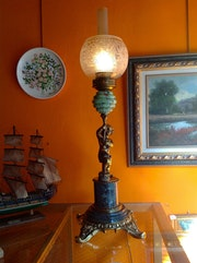 Old Lamp With Child In Figure Bronze Marble And Original Piece Collection.