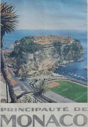 Seltene Lithographie «Fürstentum Monaco um 1955», 99cm X 62cm. Thomas Kern