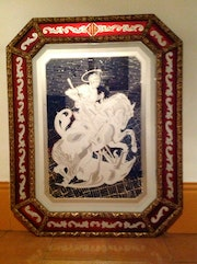 Old Picture In Etched Glass Decorated And Dragon Sant Jordi (St. George.