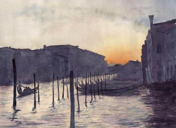 Venise - Coucher de soleil. Claude Menge Claude Menge