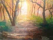 The Way of Light - Der Weg des Lichts, Acryl auf Malkarton, Landschaft, Herbst.