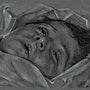 Portrait enfant de la guerre, fusain. Philippe Flohic