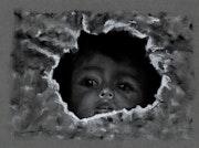 Portrait enfant de la guerre 2, fusain.