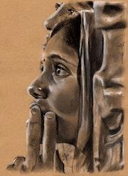 Portrait jeunes indiennes de profil.