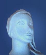 Clay sculpture of a female head - Selena. Tando