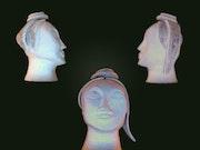 Clay sculpture of a female head - Mi Hi. Tando