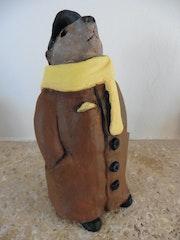 Sortie de marmotte en hiver.